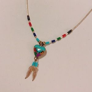 Jewelry - Western Turquoise & Silver Heart Necklace